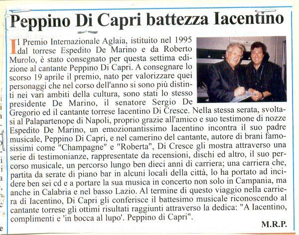 Peppino di Capri battezza Iacentino