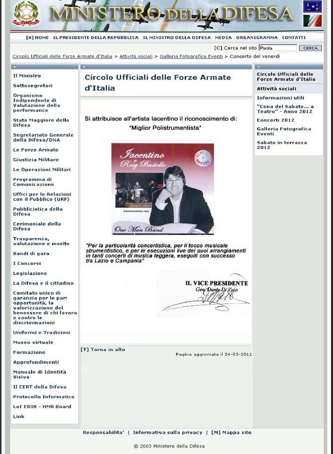 Premio Ministeriale Miglior Polistrumentista Lazio e Campania